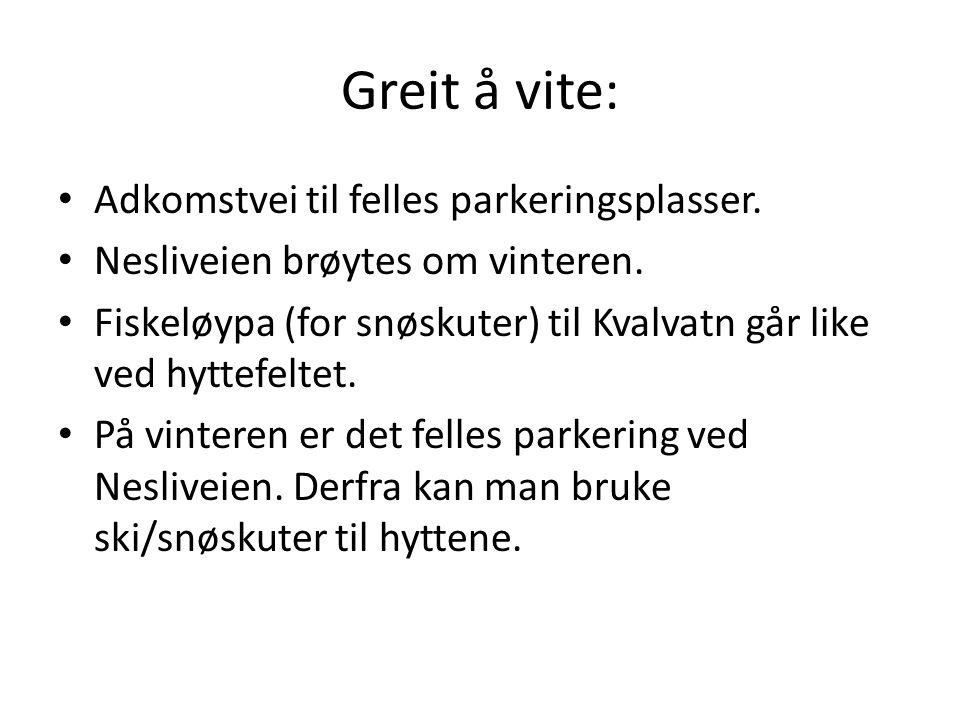 Greit å vite: • Adkomstvei til felles parkeringsplasser. • Nesliveien brøytes om vinteren. • Fiskeløypa (for snøskuter) til Kvalvatn går like ved hytt
