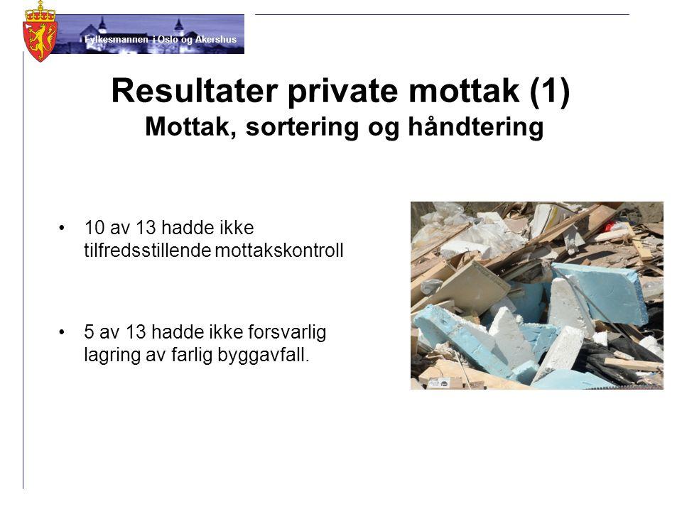 Fylkesmannen i Oslo og Akershus Resultater private mottak (1) Mottak, sortering og håndtering •10 av 13 hadde ikke tilfredsstillende mottakskontroll •