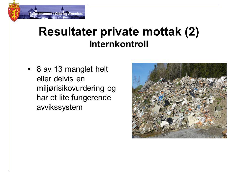 Fylkesmannen i Oslo og Akershus Resultater private mottak (2) Internkontroll •8 av 13 manglet helt eller delvis en miljørisikovurdering og har et lite