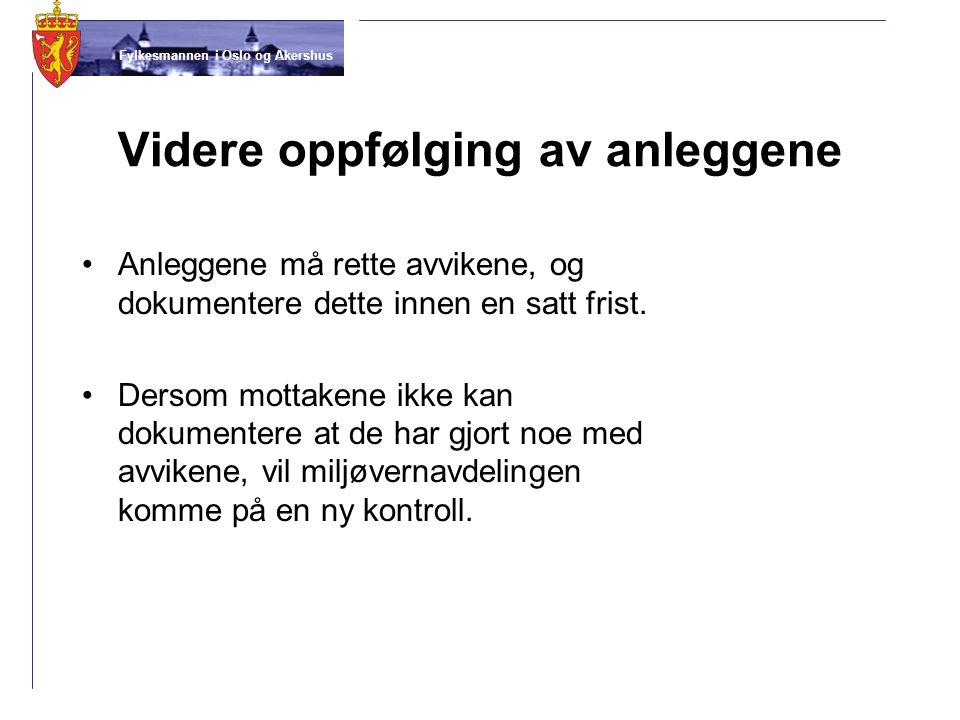Fylkesmannen i Oslo og Akershus Videre oppfølging av anleggene •Anleggene må rette avvikene, og dokumentere dette innen en satt frist. •Dersom mottake