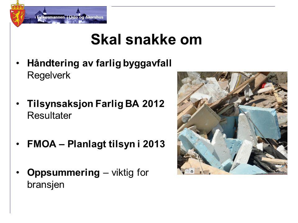 Fylkesmannen i Oslo og Akershus Skal snakke om •Håndtering av farlig byggavfall Regelverk •Tilsynsaksjon Farlig BA 2012 Resultater •FMOA – Planlagt ti