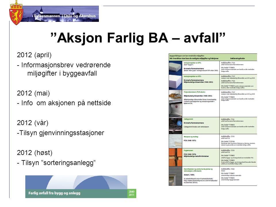 """Fylkesmannen i Oslo og Akershus """"Aksjon Farlig BA – avfall"""" 2012 (april) - Informasjonsbrev vedrørende miljøgifter i byggeavfall 2012 (mai) - Info om"""
