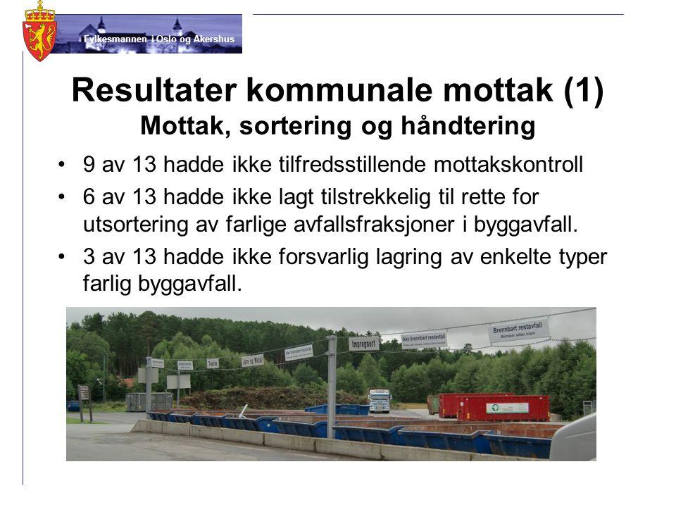Fylkesmannen i Oslo og Akershus Resultater kommunale mottak (1) Mottak, sortering og håndtering •9 av 13 hadde ikke tilfredsstillende mottakskontroll