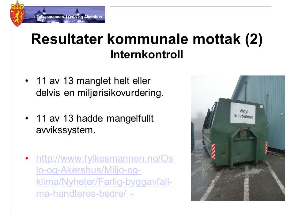 Fylkesmannen i Oslo og Akershus Resultater kommunale mottak (2) Internkontroll •11 av 13 manglet helt eller delvis en miljørisikovurdering. •11 av 13