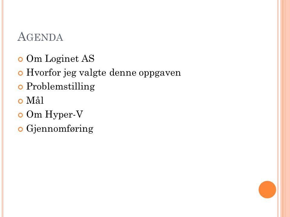 A GENDA Om Loginet AS Hvorfor jeg valgte denne oppgaven Problemstilling Mål Om Hyper-V Gjennomføring
