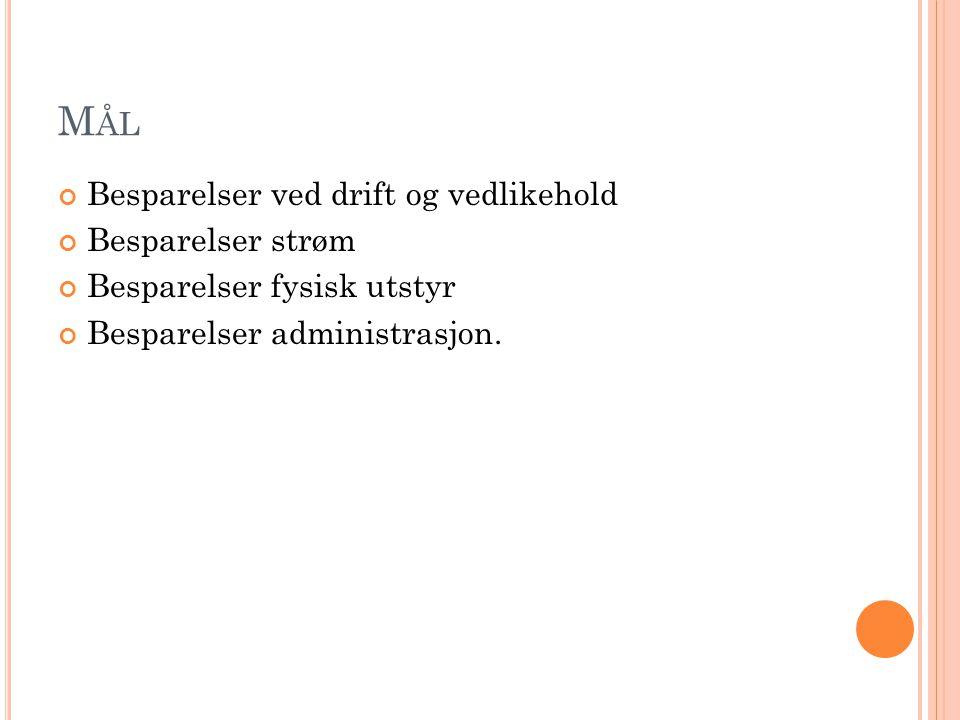 M ÅL Besparelser ved drift og vedlikehold Besparelser strøm Besparelser fysisk utstyr Besparelser administrasjon.