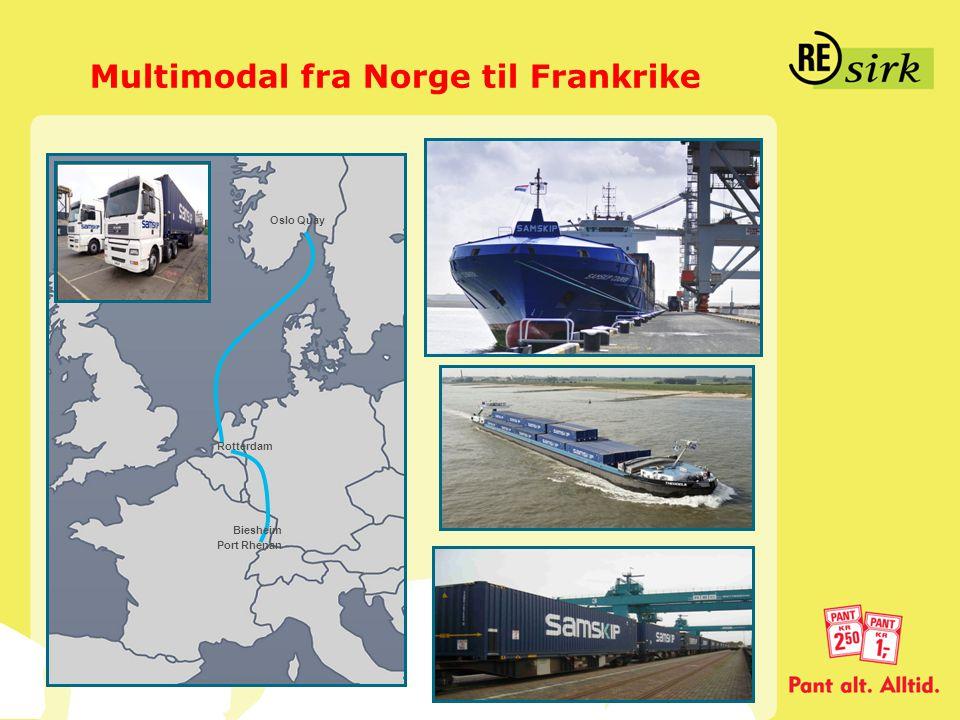 Multimodal fra Norge til Frankrike Biesheim Port Rhenan Rotterdam Oslo Quay