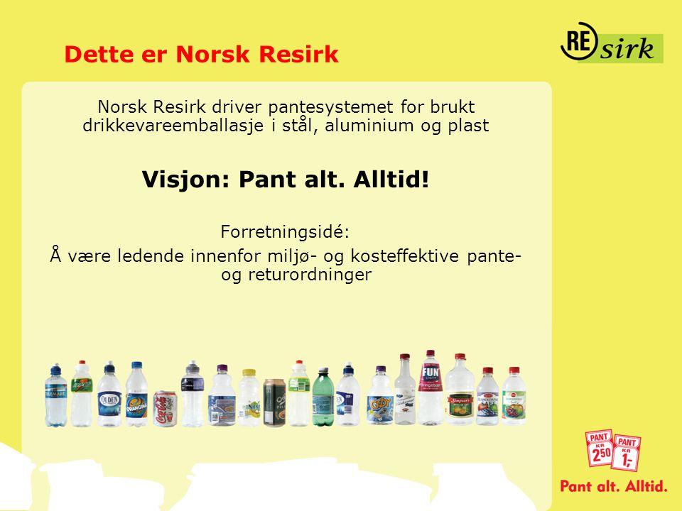 Dette er Norsk Resirk Norsk Resirk driver pantesystemet for brukt drikkevareemballasje i stål, aluminium og plast Visjon: Pant alt. Alltid! Forretning