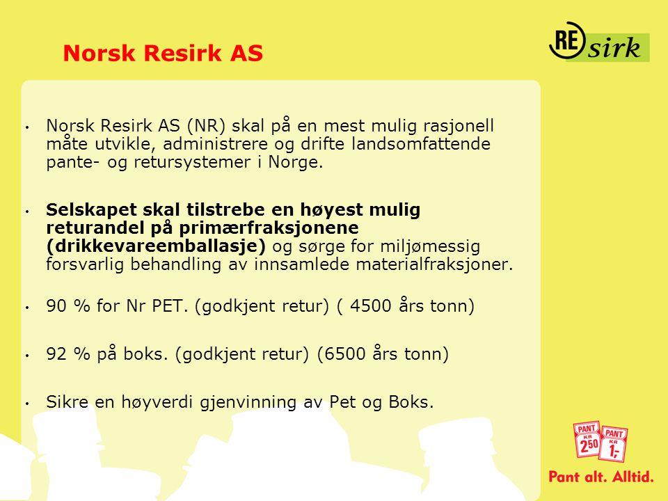 Norsk Resirk AS • Norsk Resirk AS (NR) skal på en mest mulig rasjonell måte utvikle, administrere og drifte landsomfattende pante- og retursystemer i
