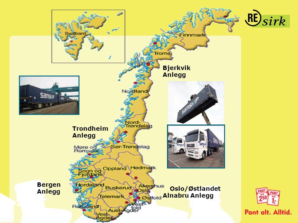 Oslo/Østlandet Alnabru Anlegg Bergen Anlegg Trondheim Anlegg Bjerkvik Anlegg