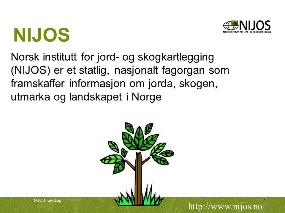 NIJOS-foredrag1 NIJOS Norsk institutt for jord- og skogkartlegging (NIJOS) er et statlig, nasjonalt fagorgan som framskaffer informasjon om jorda, skogen, utmarka og landskapet i Norge http://www.nijos.no