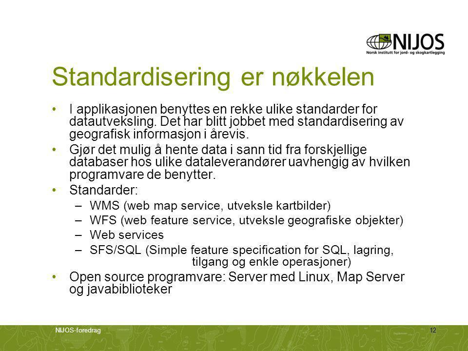NIJOS-foredrag12 Standardisering er nøkkelen •I applikasjonen benyttes en rekke ulike standarder for datautveksling.