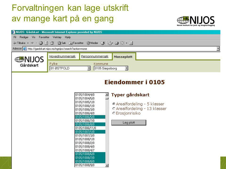 NIJOS-foredrag26 Forvaltningen kan lage utskrift av mange kart på en gang