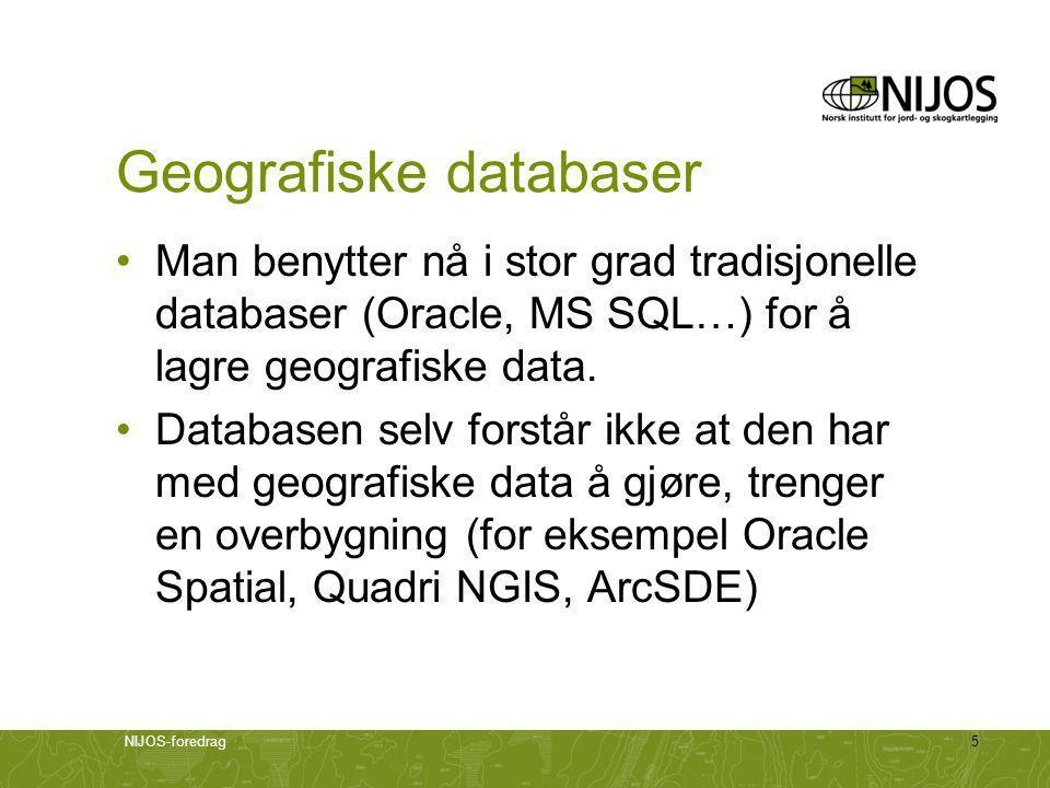 NIJOS-foredrag16 Datakvalitet •Aspekter ved datakvalitet: –Geometrisk nøyaktighet –Egenskapenes nøyaktighet –Fullstendighet –Logisk konsistens –Og mange, mange flere…