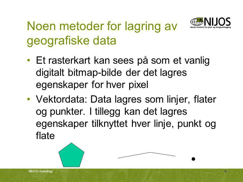 NIJOS-foredrag6 Noen metoder for lagring av geografiske data •Et rasterkart kan sees på som et vanlig digitalt bitmap-bilde der det lagres egenskaper for hver pixel •Vektordata: Data lagres som linjer, flater og punkter.