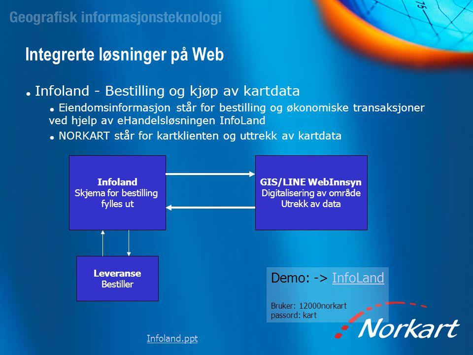 Integrerte løsninger på Web  Infoland - Bestilling og kjøp av kartdata  Eiendomsinformasjon står for bestilling og økonomiske transaksjoner ved hjel