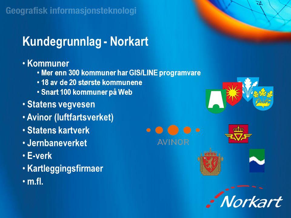 Kundegrunnlag - Norkart • Kommuner • Mer enn 300 kommuner har GIS/LINE programvare • 18 av de 20 største kommunene • Snart 100 kommuner på Web • State