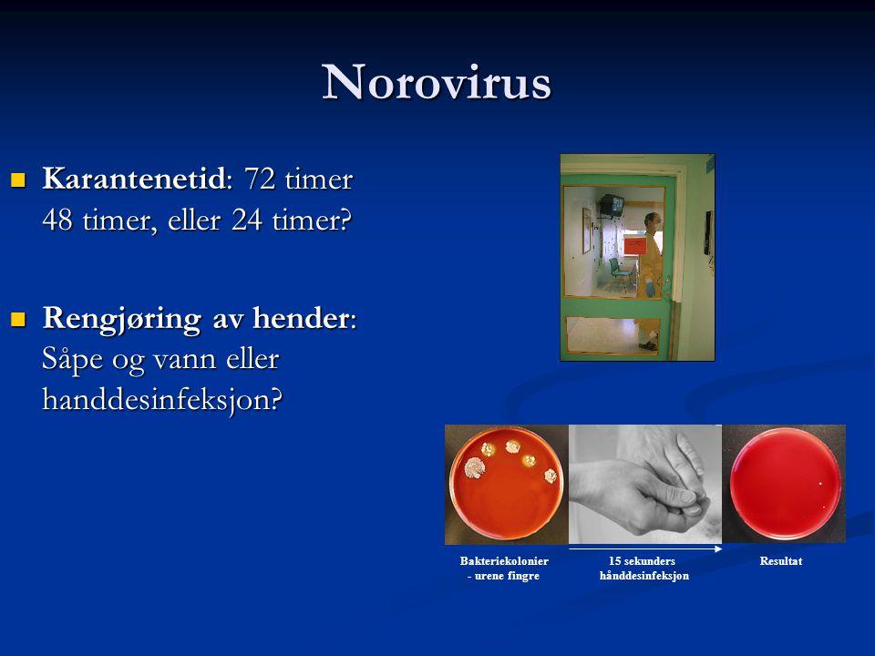 Norovirus  Karantenetid: 72 timer 48 timer, eller 24 timer.