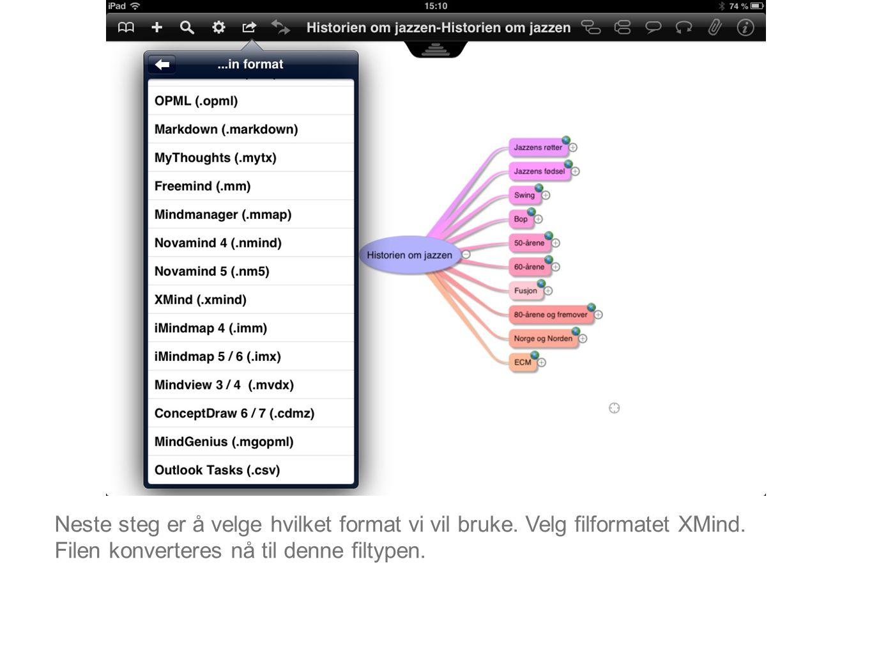Neste steg er å velge hvilket format vi vil bruke. Velg filformatet XMind. Filen konverteres nå til denne filtypen.