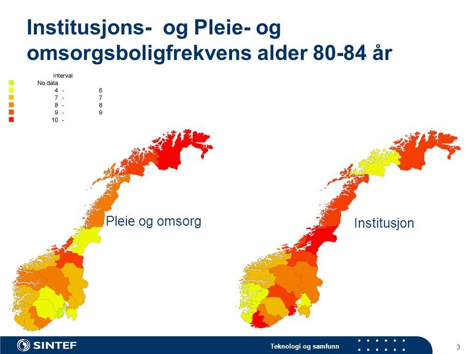 Teknologi og samfunn 3 Institusjons- og Pleie- og omsorgsboligfrekvens alder 80-84 år Pleie og omsorg Institusjon