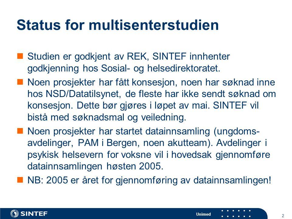 Unimed 2 Status for multisenterstudien  Studien er godkjent av REK, SINTEF innhenter godkjenning hos Sosial- og helsedirektoratet.