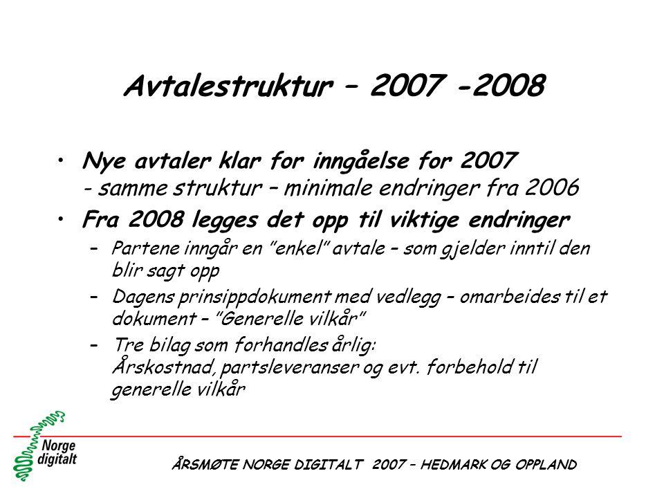 Avtalestruktur – 2007 -2008 •Nye avtaler klar for inngåelse for 2007 - samme struktur – minimale endringer fra 2006 •Fra 2008 legges det opp til vikti
