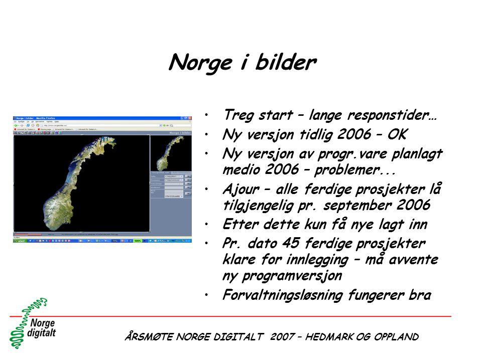 ÅRSMØTE NORGE DIGITALT 2007 – HEDMARK OG OPPLAND Norge i bilder •Treg start – lange responstider… •Ny versjon tidlig 2006 – OK •Ny versjon av progr.va