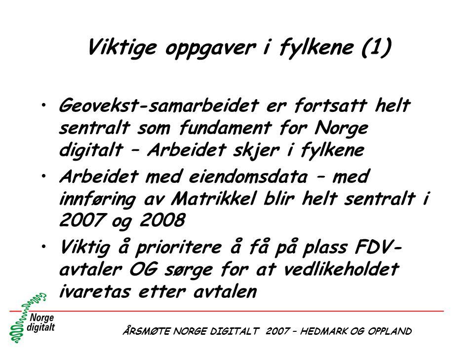 ÅRSMØTE NORGE DIGITALT 2007 – HEDMARK OG OPPLAND Viktige oppgaver i fylkene (1) •Geovekst-samarbeidet er fortsatt helt sentralt som fundament for Norg