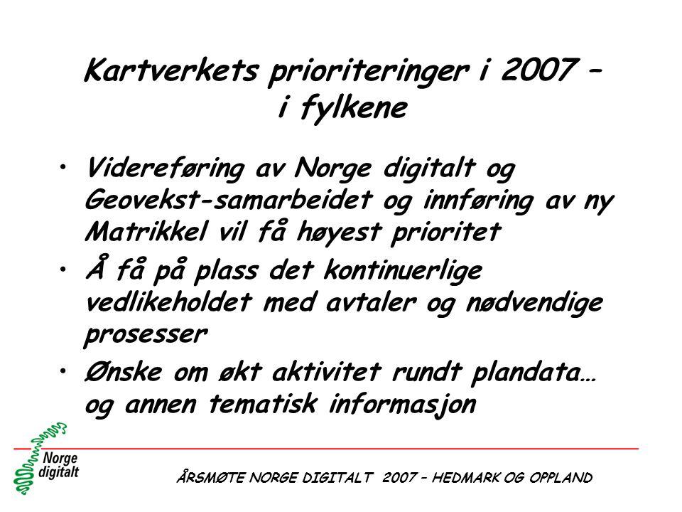 ÅRSMØTE NORGE DIGITALT 2007 – HEDMARK OG OPPLAND Kartverkets prioriteringer i 2007 – i fylkene •Videreføring av Norge digitalt og Geovekst-samarbeidet