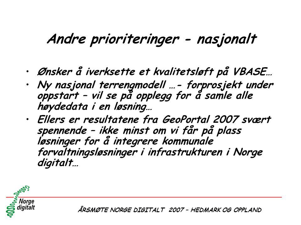 ÅRSMØTE NORGE DIGITALT 2007 – HEDMARK OG OPPLAND Andre prioriteringer - nasjonalt •Ønsker å iverksette et kvalitetsløft på VBASE… •Ny nasjonal terreng