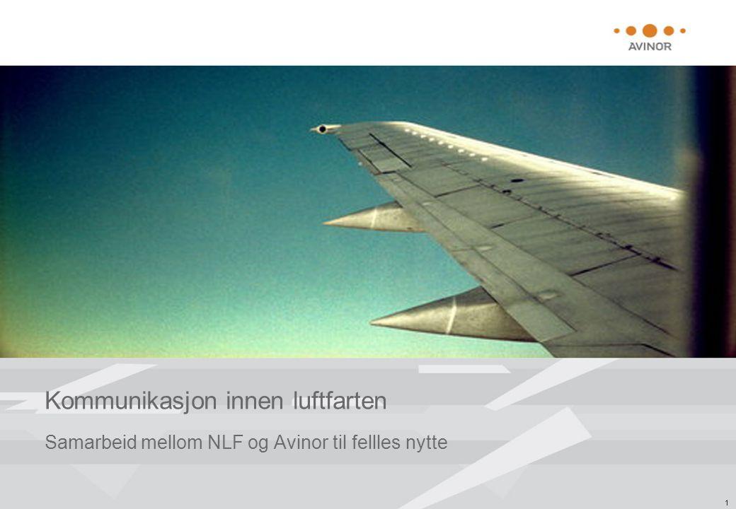 1 Kommunikasjon innen luftfarten Samarbeid mellom NLF og Avinor til fellles nytte