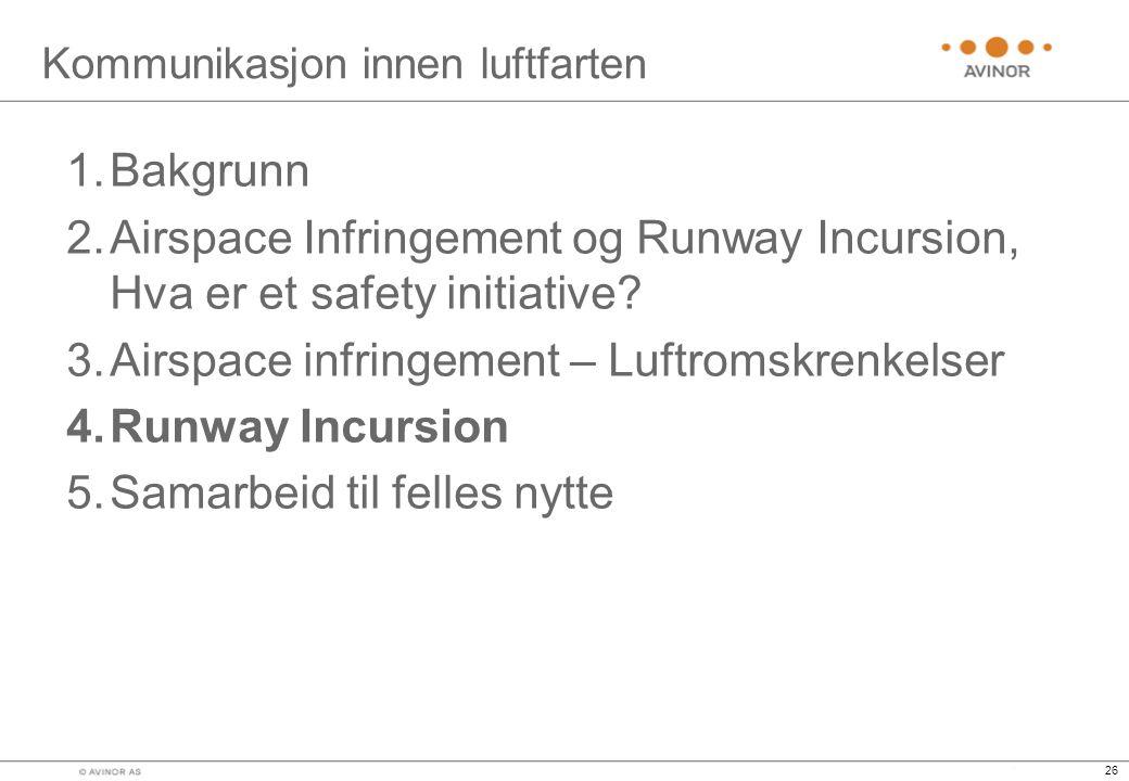 26 Kommunikasjon innen luftfarten 1.Bakgrunn 2.Airspace Infringement og Runway Incursion, Hva er et safety initiative.