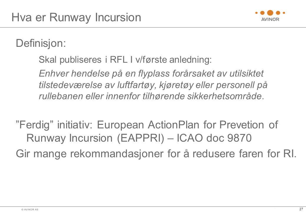 27 Hva er Runway Incursion Definisjon: Skal publiseres i RFL I v/første anledning: Enhver hendelse på en flyplass forårsaket av utilsiktet tilstedeværelse av luftfartøy, kjøretøy eller personell på rullebanen eller innenfor tilhørende sikkerhetsområde.