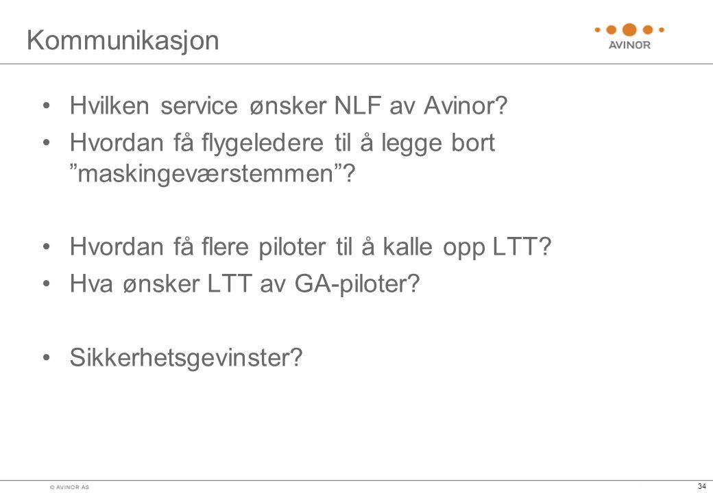 34 Kommunikasjon •Hvilken service ønsker NLF av Avinor.
