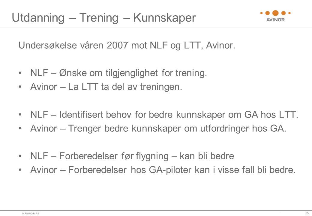 35 Utdanning – Trening – Kunnskaper Undersøkelse våren 2007 mot NLF og LTT, Avinor.