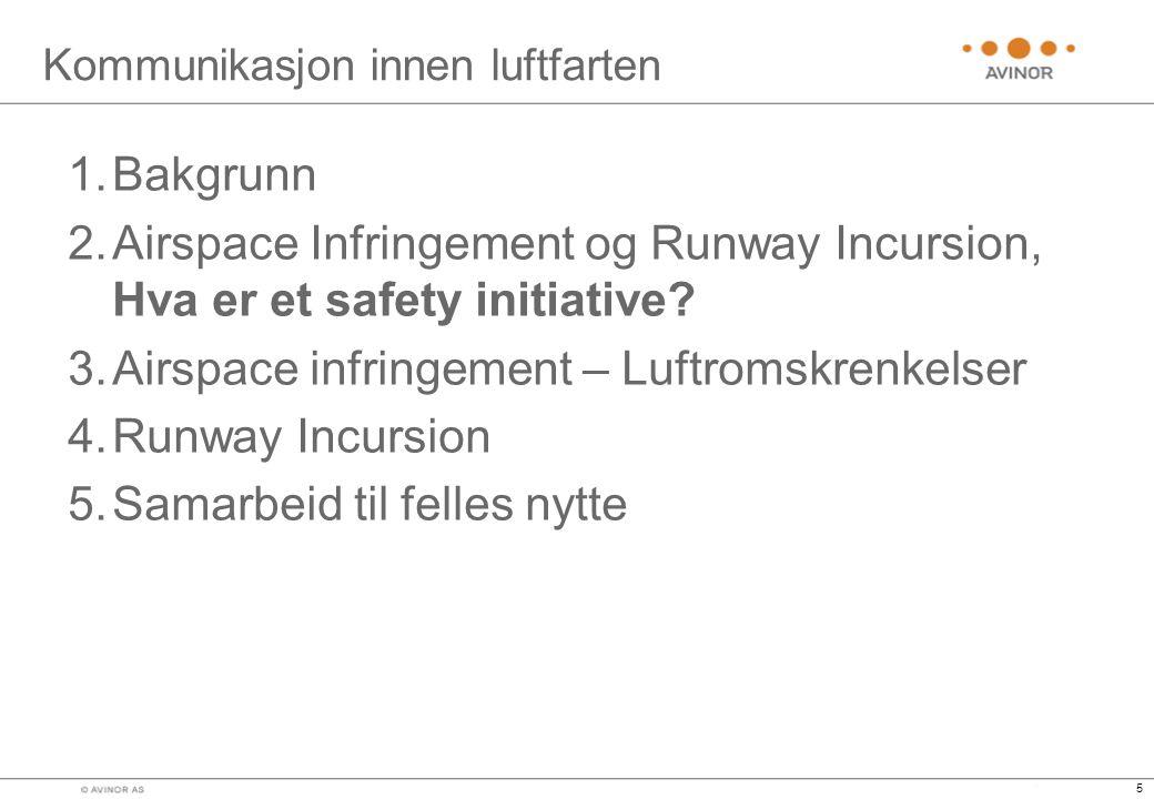 5 Kommunikasjon innen luftfarten 1.Bakgrunn 2.Airspace Infringement og Runway Incursion, Hva er et safety initiative.