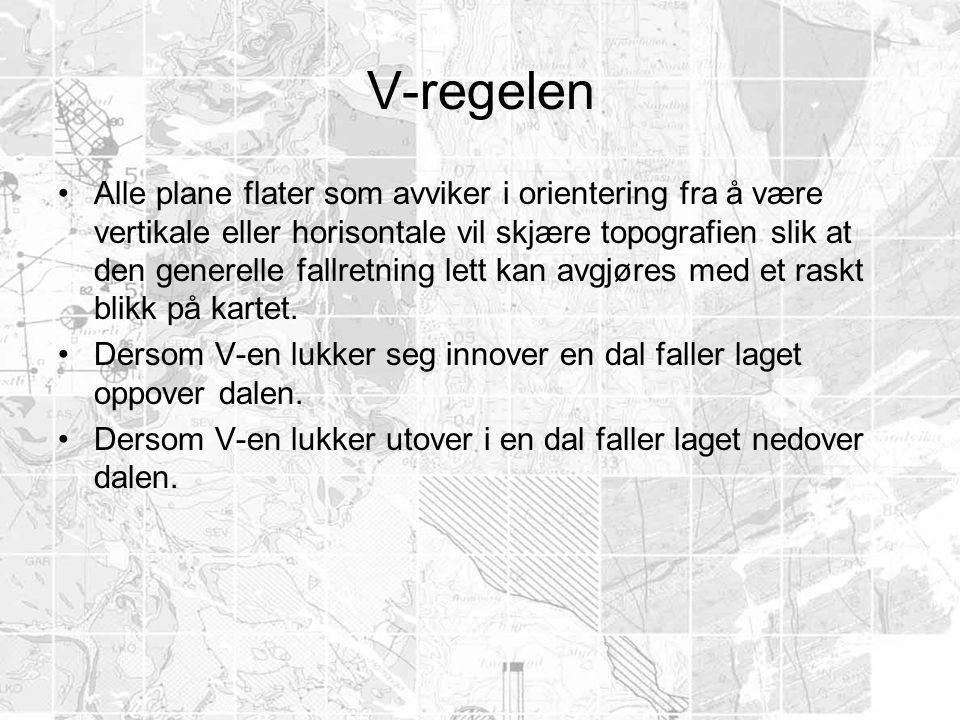 V-regelen •Alle plane flater som avviker i orientering fra å være vertikale eller horisontale vil skjære topografien slik at den generelle fallretning