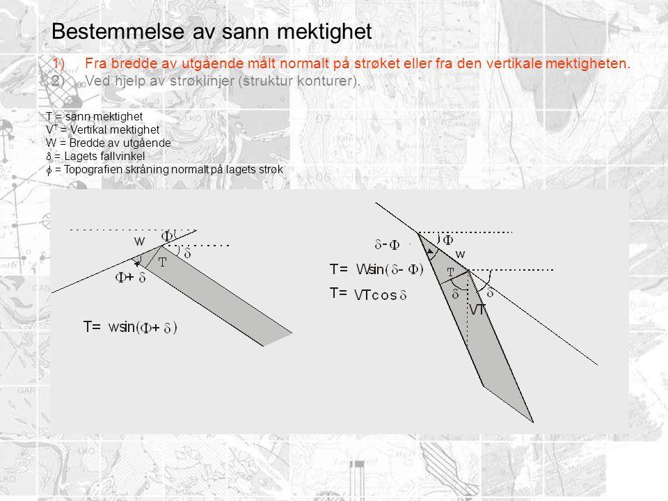Bestemmelse av sann mektighet T = sann mektighet V T = Vertikal mektighet W = Bredde av utgående  = Lagets fallvinkel  = Topografien skråning normal