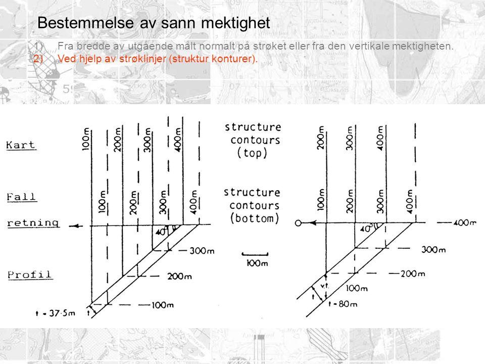 Bestemmelse av sann mektighet 1)Fra bredde av utgående målt normalt på strøket eller fra den vertikale mektigheten. 2)Ved hjelp av strøklinjer (strukt