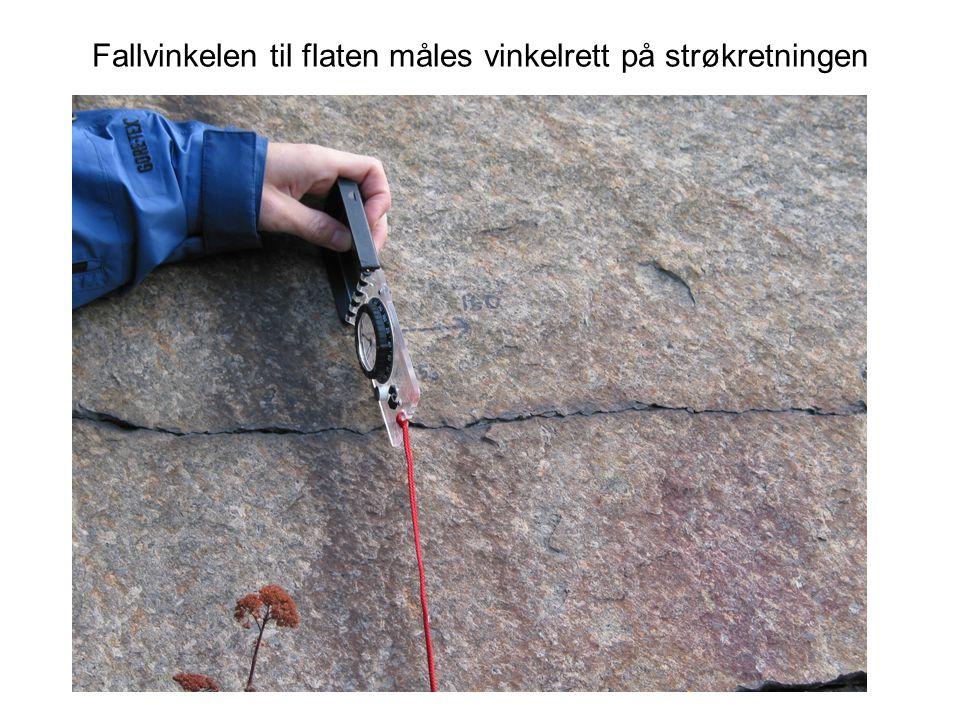 Fallvinkelen til flaten måles vinkelrett på strøkretningen