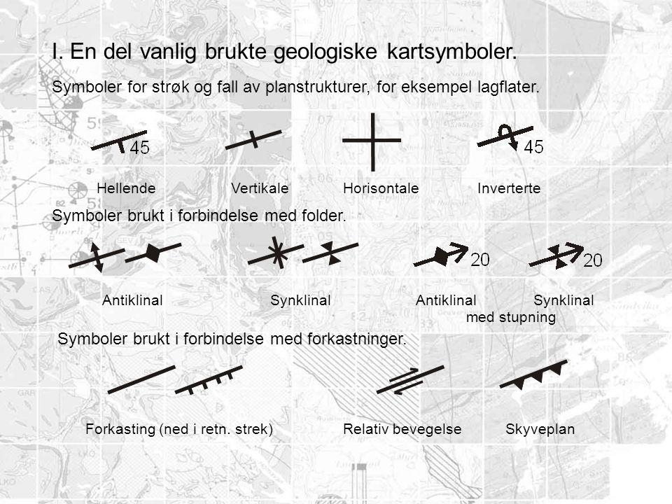 I. En del vanlig brukte geologiske kartsymboler. Symboler for strøk og fall av planstrukturer, for eksempel lagflater. HellendeVertikaleHorisontaleInv