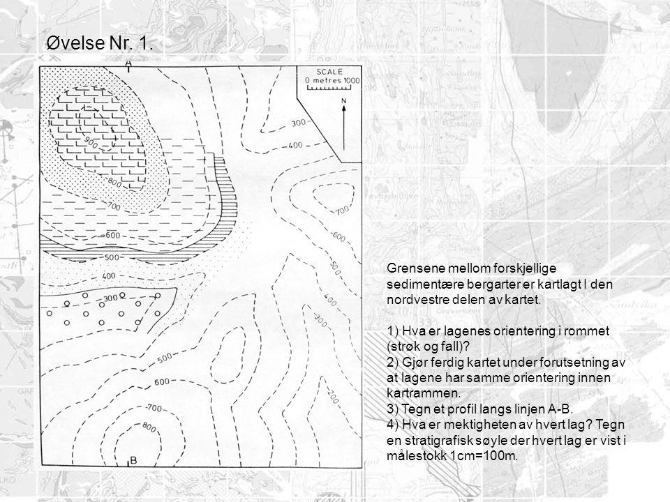 Grensene mellom forskjellige sedimentære bergarter er kartlagt I den nordvestre delen av kartet. 1) Hva er lagenes orientering i rommet (strøk og fall