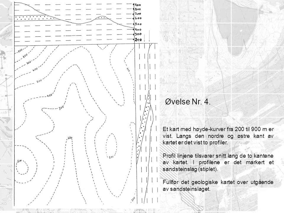 Øvelse Nr. 4. Et kart med høyde-kurver fra 200 til 900 m er vist. Langs den nordre og østre kant av kartet er det vist to profiler. Profil linjene til