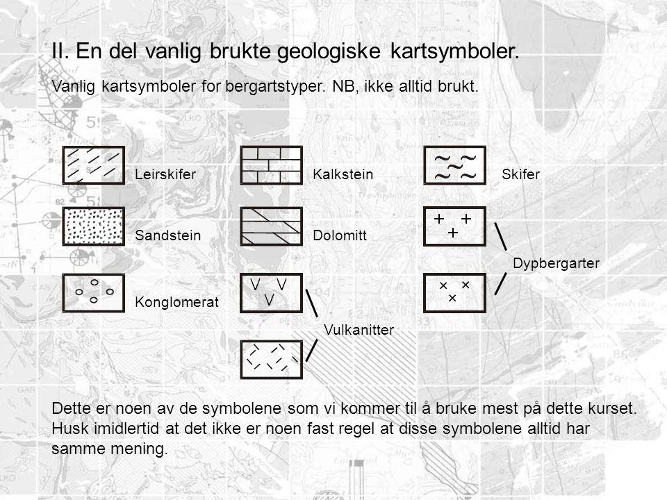 II. En del vanlig brukte geologiske kartsymboler. Vanlig kartsymboler for bergartstyper. NB, ikke alltid brukt. Leirskifer Sandstein Konglomerat Kalks