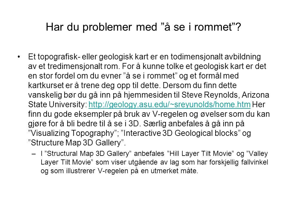 """Har du problemer med """"å se i rommet""""? •Et topografisk- eller geologisk kart er en todimensjonalt avbildning av et tredimensjonalt rom. For å kunne tol"""