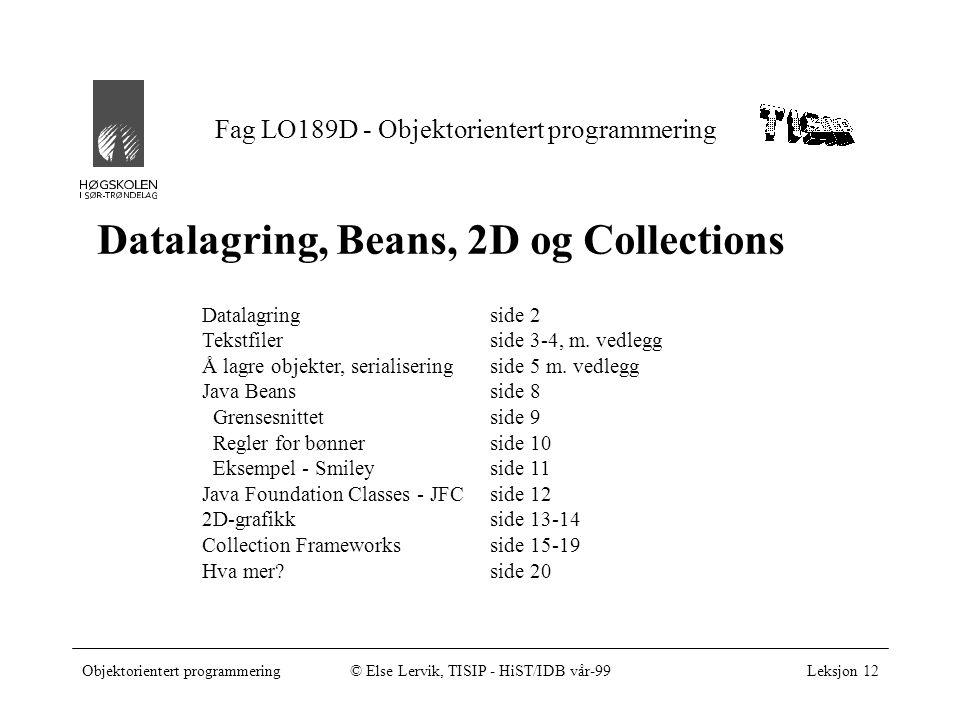 Objektorientert programmering© Else Lervik, TISIP - HiST/IDB vår-99Leksjon 12, side 2 Datalagring •IO-biblioteket inneholder 58 klasser •InputStream og OutputStream - for binær datatransport •Reader og Writer - for formattert datatransport –Tekstfiler, i prinsippet som i andre programmeringsspråk •Lagring av objekter –serialisering - enkelt.