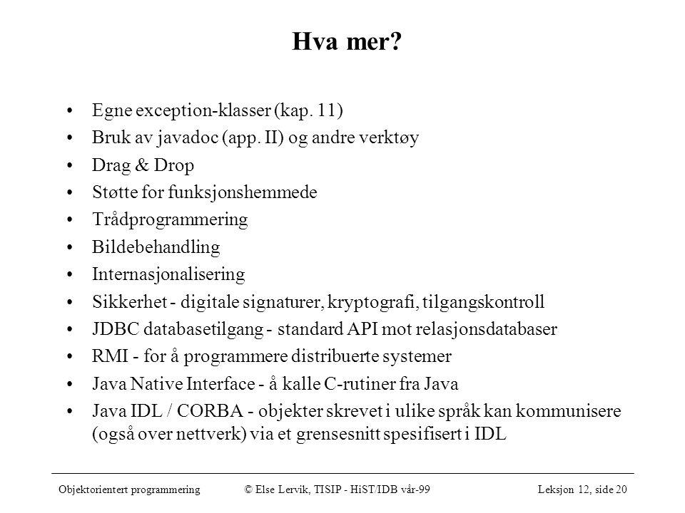 Objektorientert programmering© Else Lervik, TISIP - HiST/IDB vår-99Leksjon 12, side 20 Hva mer.