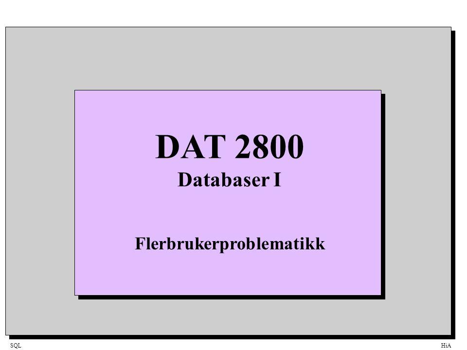 SQLHiA Multiway tre 42 81 95 107 7 24 Søk etter tallet 15 Hver node inneholder N antall nøkler (keys) (her 2).