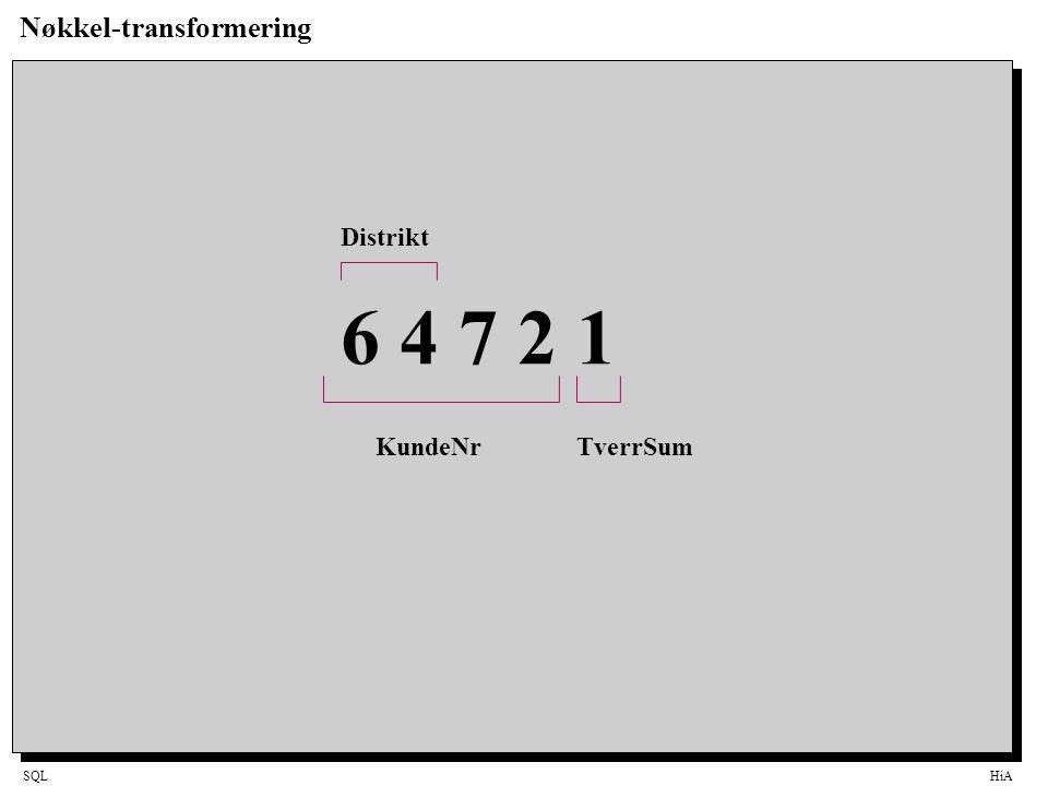 SQLHiA Nøkkel-transformering 6 4 7 2 1 KundeNrTverrSum Distrikt