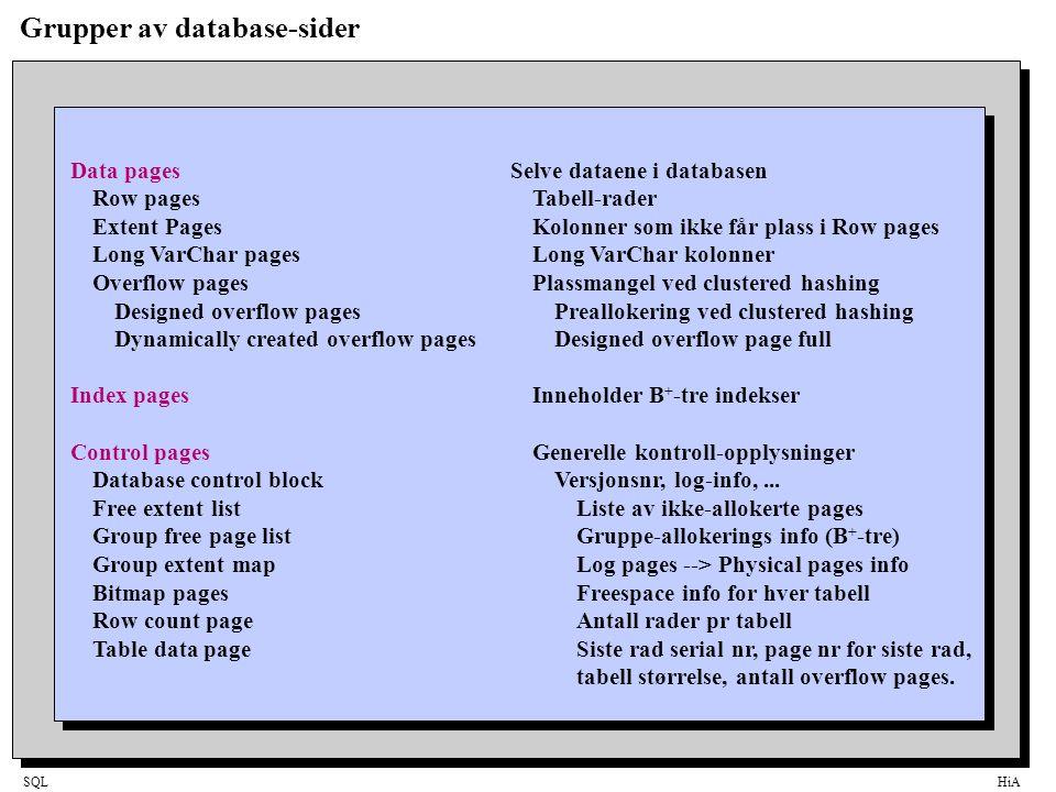 SQLHiA Indekser •B-TrærIndeks bygget opp som tre-struktur.